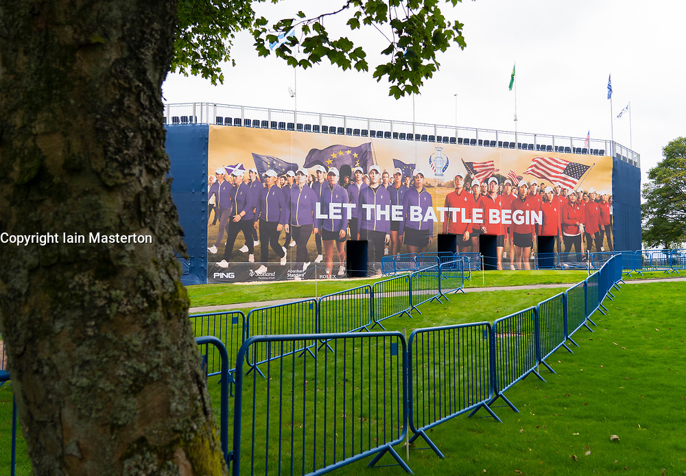 Auchterarder, Scotland, UK. 8 September 2019.  Final preparations underway at the Centenary Course at Gleneagles for the 2019 Solheim Cup between women golfers from Europe and the USA. The event runs from 9-15 September. Pictured; Large billboard on rear of the grandstand at the 1st tee Iain Masterton/Alamy Live News
