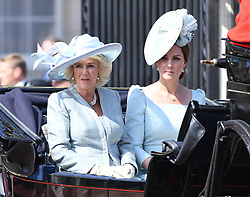 Catherine Duchess of Cambridge and Camilla Duchess of Cornwall during the carriage procession along The Mall at Trooping The Colour, London. Photo credit should read: Doug Peters/EMPICS