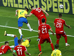 June 27, 2018 - Moscow, Russia - Group E Serbia v Brazil - FIFA World Cup Russia 2018.Silva Thiago (Brazil) scores the goal of 0-2 at Spartak Stadium in Moscow, Russia on June 27, 2018. (Credit Image: © Matteo Ciambelli/NurPhoto via ZUMA Press)
