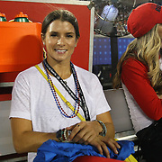 NASCAR driver Danica Patrick is seen on the Ole Miss sidelines during an NCAA football game between the Ole Miss Rebels and the Florida State Seminoles at Camping World Stadium on September 5, 2016 in Orlando, Florida. (Alex Menendez via AP)