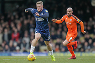 Southend United forward Stephen Humphrys (39) chased by Luton Town midfielder Alan McCormack (4) during the EFL Sky Bet League 1 match between Southend United and Luton Town at Roots Hall, Southend, England on 26 January 2019.