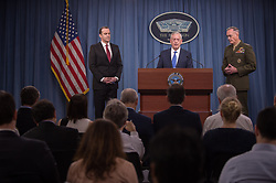 Defense Secretary James Mattis holds a press conference with the Chairman of the Joint Chiefs of Staff, Marine Gen. Joseph F. Dunford, Jr., to update the media on the defeat of the Islamic State of Iraq and Syria at the Pentagon in Washington, D.C., May 19, 2017. (DOD photo by Army Sgt. Amber I. Smith)