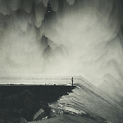 Surreal seascape with a man standing on a quay looking down an inclined sea plane<br /> Redbubble--> https://www.redbubble.com/shop/ap/39078847?asc=u