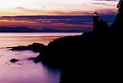 Lime Kiln Lighthouse at sunset - San Juan Islands, Washington