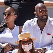 PARIS, FRANCE June 13. Frrench judo champion Teddy Riner watching Novak Djokovic of Serbia in action against Stefanos Tsitsipas of Greece on Court Philippe-Chatrier during the Men's Singles Final at the 2021 French Open Tennis Tournament at Roland Garros on June 13th 2021 in Paris, France. (Photo by Tim Clayton/Corbis via Getty Images)