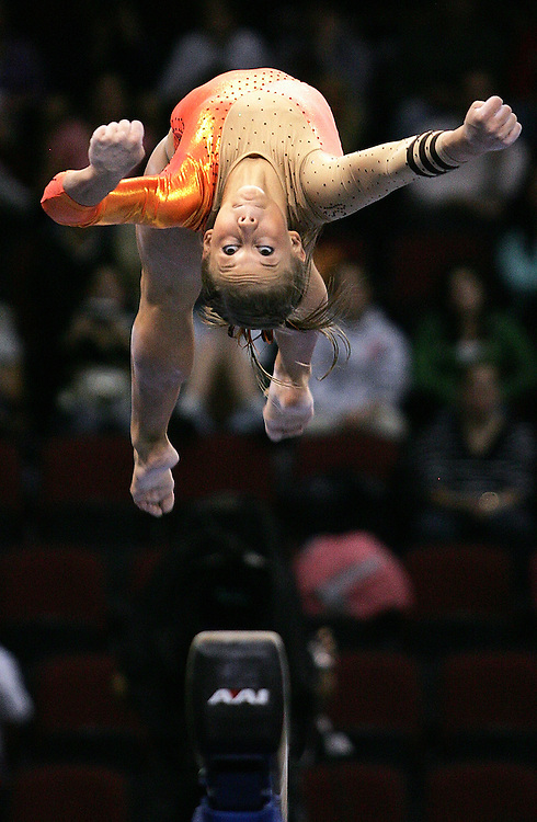 (060508 Boston, MA)  Shawn Johnson competes on the beam during the 2008 Women's Visa Championships.