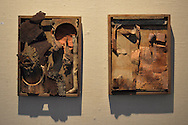 """Roslyn, New York, USA. January 31, 2015. Wood sculpture by artist Constance Wain is on exhibit Artists Reception for """"The Alchemists"""" at Bryant Library."""