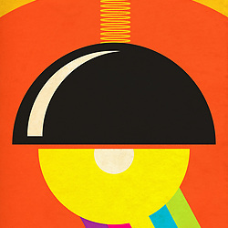German Modernism Retro Lighting black gloss shade with yellow base and orange red background with rainbow beam