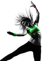 one  woman exercising fitness zumba dancing in silhouette on white background