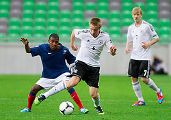 Thomas Lemar of France vs Nico Brandenburger of Germany during the UEFA European Under-17 Championship Group A match between Germany and France on May 10, 2012 in SRC Stozice, Ljubljana, Slovenia. (Photo by Vid Ponikvar / Sportida.com)