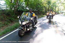 Rod Brownley on a ride out to Skyesville, MD with the Flying Eagles MC (founded 1950). USA. August 15, 2015.  Photography ©2015 Michael Lichter.