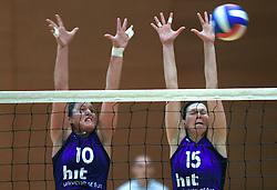 Tjasa Testen and Marina Cvetanovic of Nova Gorica  at 1st match of finals of 1st DOL women volleyball league between OK Hit Nova Gorica and OK Nova KBM Branik, Maribor played in OS Milojke Strukelj, on April 8, 2009, in Nova Gorica, Slovenia. Nova KBM Branik won 3:1. (Photo by Vid Ponikvar / Sportida)