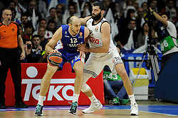 15.04.2015, Palacio de los Deportes stadium, Madrid, ESP, Euroleague Basketball, Real Madrid vs Anadolu Efes Istanbul, Playoffs, im Bild Real Madrid´s Ioannis Bourousis and Anadolu Efes´s Nenad Krstic // during the Turkish Airlines Euroleague Basketball 1st final match between Real Madrid vand Anadolu Efes Istanbul t the Palacio de los Deportes stadium in Madrid, Spain on 2015/04/15. EXPA Pictures © 2015, PhotoCredit: EXPA/ Alterphotos/ Luis Fernandez<br /> <br /> *****ATTENTION - OUT of ESP, SUI*****