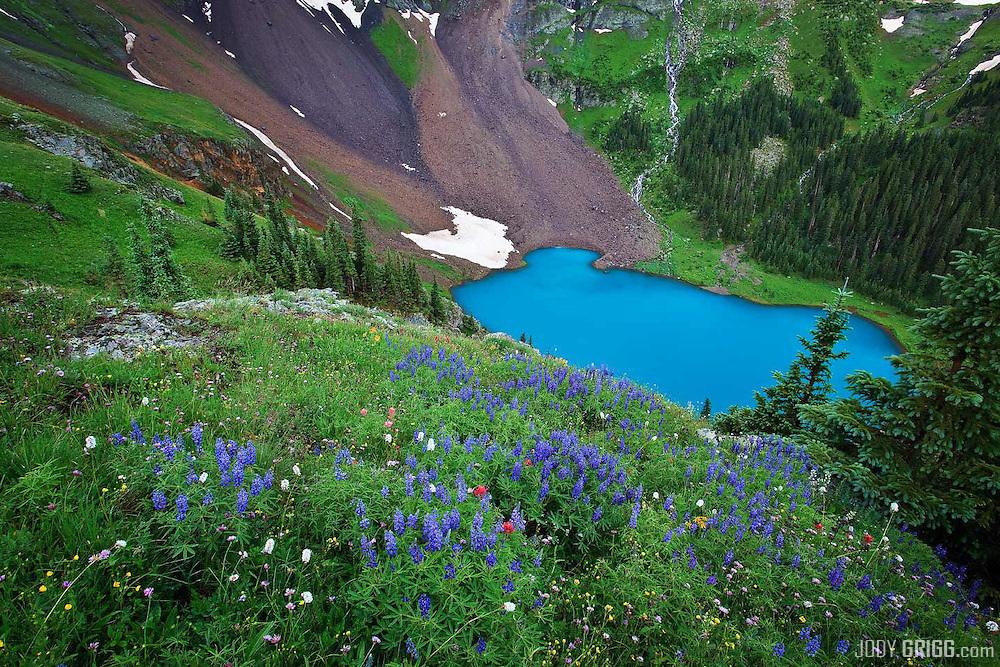Lower Blue Lake in the Mount Sneffels Wilderness area outside of Ridgway, Colorado.