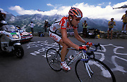 Lotto Davitamon's Cadel Evans was first over the Col d'Aubisque on Tuesday 19th July 2005.