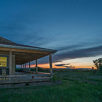 A sunset glows over the Enrico Discovery & Science Center on the American Prairie Reserve in Phillips County, Montana.