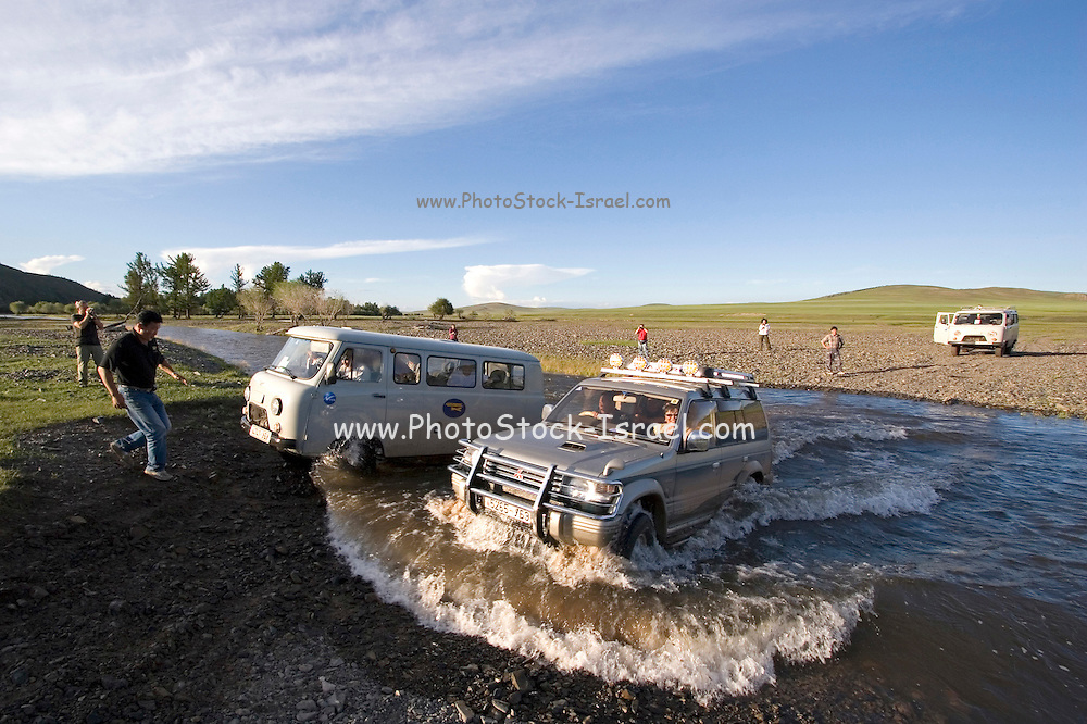 crossing a water obstacle, Shiveet Manhan, Mongolia