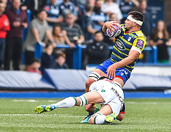 Cardiff Blues' Ellis Jenkins is tackled by Pau's Ben Mowen<br /> <br /> Photographer Craig Thomas/Replay Images<br /> <br /> European Rugby Challenge Cup Round Semi final - Cardiff Blues v Pau - Saturday 21st April 2018 - Cardiff Arms Park - Cardiff<br /> <br /> World Copyright © Replay Images . All rights reserved. info@replayimages.co.uk - http://replayimages.co.uk