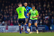 Gillingham FC forward Josh Parker (14), Cardiff City defender Sean Morrison (4) and Cardiff City defender Lee Peltier (2) during the The FA Cup 3rd round match between Gillingham and Cardiff City at the MEMS Priestfield Stadium, Gillingham, England on 5 January 2019. Photo by Martin Cole.