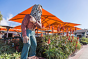 Laguna Beach Greeter Statue in Front of The Sapphire Restaurant in Laguna