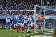 ball cleared off the line during the EFL Sky Bet League 1 match between Portsmouth and Rochdale at Fratton Park, Portsmouth, England on 13 April 2019.
