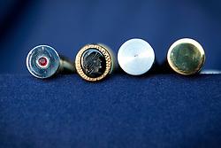 """Avigliano (PZ), 04-10-2010 ITALY - Vito Aquila, artigiano di Balestre. Il coltello di Avigliano, comunemente conosciuto come """"balestra"""", impreziosito con decorazioni in argento e ottone che le conferivano un certo valore non solo artistico,ha identificato per tutto l'Ottocento e parte del Novecento il carattere fiero e risoluto del popolo aviglianese, come attestato in una lunga casistica di riscontri documentari. La """"balestra"""" è un'arma a tutti gli effetti, ed è già considerata -nell'ambito delle manifatture di ferro - oggetto di pregio. Per l'approvvigionamento dell'argento e dell'ottone destinati alla decorazione del manico del coltello gli armieri si rivolgevano agli orefici o agli ottonari. La """"balestra"""" era un'arma del popolo, pronta ad essere impiegata, a seconda delle circostanze, per la difesa o l'offesa tanto dagli uomini quanto dalle donne. Queste, la ricevevano come regalo di fidanzamento dal rispettivo promesso sposo per meglio difendere il proprio onore, perpetrando un'usanza molto sentita almeno fino ai primi decenni del '900..Nella Foto:Particolari delle testine."""