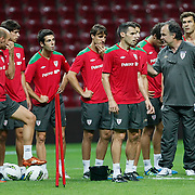 Athletic Bilbao's coach Marcelo BIESLA (R) during their team's training session in Istanbul, Turkey, 24 August 2011. Athletic Bilbao will face Trabzonspor in the UEFA Europa League play off second leg soccer match on 25 August.  Photo by TURKPIX