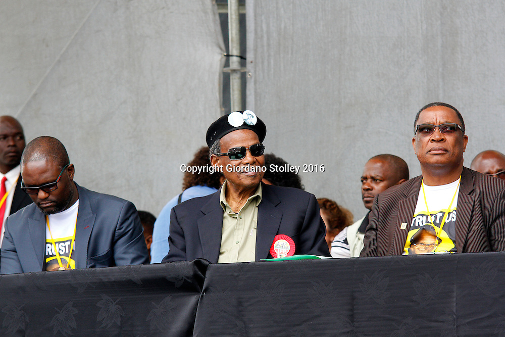 DURBAN - 12 June 2016 - Mangosuthu Buthelezi (center), the octogenarian leader of South Africa's Inkatha Freedom Party at a rally in Durban's King Zwelithini Sadium where the party's local government election manifesto was launched. To the left of him his the party's deputy president Mzamo Buthelezi and tothe right of him is the party's national chairman Blessed Gwala.The country's voters go to the polls on August 3 to elect the councillors who will serve them in the more than 200 municipalities. - Picture: Allied Picture Press/APP