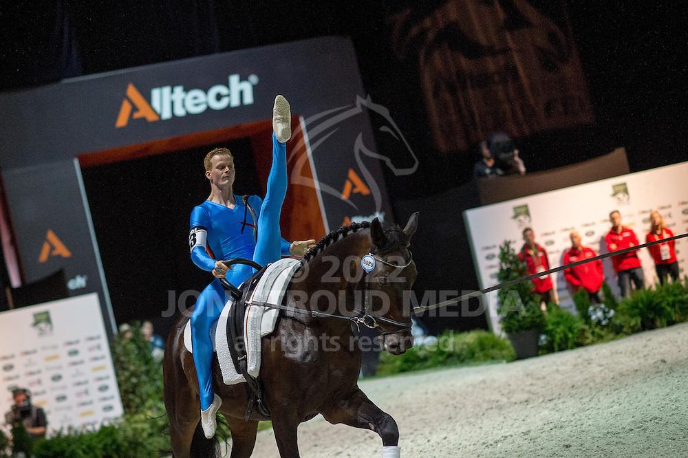 Erik Oese, (GER), Calvador 5, Andreas Babler - Individuals Men Compulsory Vaulting - Alltech FEI World Equestrian Games™ 2014 - Normandy, France.<br /> © Hippo Foto Team - Jon Stroud<br /> 02/09/2014