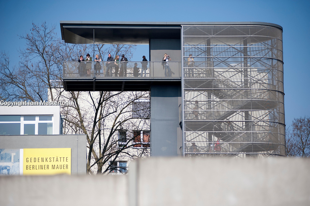 Reconstructed section of the Berlin Wall and visitor viewing platform at Bernauer Street museum in Berlin 2009