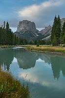 Squaretop Mountain reflected in Green River, Bridger Wilderness, Wind River Range Wyoming