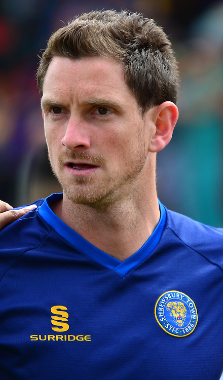 Scott Vernon warms up during the Sky Bet League 2 match between Cheltenham Town and Shrewsbury Town at Whaddon Road, Cheltenham, England on 25 April 2015. Photo by Alan Franklin.