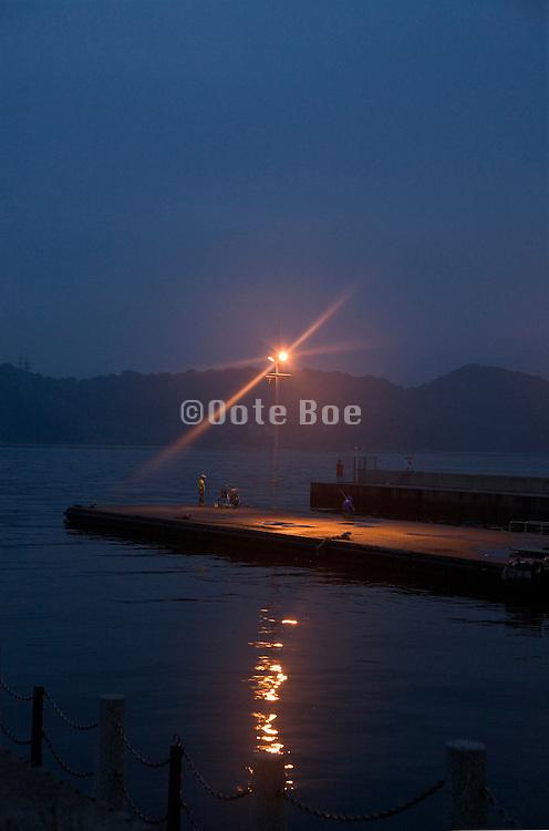 people recreational fishing at dusk