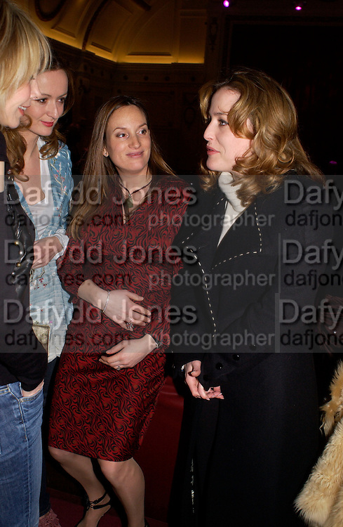 """Trudie Styler, Lucy Yeomans, Emily Oppenheimer and Gillian Anderson, Harpers and Queen and Twentieth Century Fox host a  charity screening in aid of 'Facing the World"""" ( plastic surgery for children in the world's poorest countries)  and supper for Solaris. Electric Cinema, Notting Hill.  © Copyright Photograph by Dafydd Jones 66 Stockwell Park Rd. London SW9 0DA Tel 020 7733 0108 www.dafjones.com"""