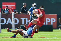 Morgan Sieniawski of Wales in action<br /> <br /> Photographer Craig Thomas/Replay Images<br /> <br /> World Rugby HSBC World Sevens Series - Day 2 - Friday 6rd December 2019 - Sevens Stadium - Dubai<br /> <br /> World Copyright © Replay Images . All rights reserved. info@replayimages.co.uk - http://replayimages.co.uk