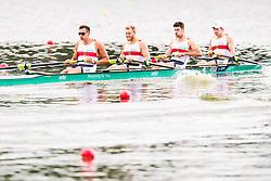 August 3, 2018 - Glasgow, UNITED KINGDOM - 180803 Felix Brummen (bow), Nico Merget (2), Peter Kluge (3) and Felix Drahotta (stroke) compete in the Men's Rowing Four repechage during the European Championships on August 3, 2018 in Glasgow..Photo: Jon Olav Nesvold / BILDBYRÃ…N / kod JE / 160281 (Credit Image: © Jon Olav Nesvold/Bildbyran via ZUMA Press)