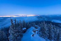 The Squaw Mountain Fire Lookout Tower is just 25 miles west of Denver and has a great view of the city lights coming on. The fog and clouds quickly cleared out as it got darker.