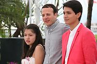 Actress Andrea Vergara, director Amat Escalante and actor Armando Espitia at the Heli film photocall at the Cannes Film Festival 16th May 2013