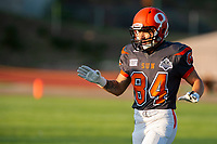 KELOWNA, BC - AUGUST 3:  Javen Kaechele #84 of Okanagan Sun runs to the sidelines against the Kamloops Broncos at the Apple Bowl on August 3, 2019 in Kelowna, Canada. (Photo by Marissa Baecker/Shoot the Breeze)