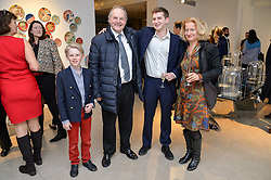 Left to right, GERALD KAVANAGH-LEGGE, his father the EARL OF DARTMOUTH, TANCREDI di CARCACI and DIANA di CARCACI at a private view of Bright Young Things held at the David Gill Gallery, 2-4 King Street, London on 19th April 2016.