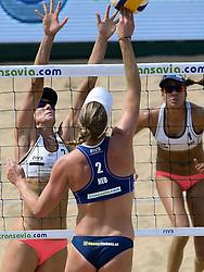 18-07-2014 NED: FIVB Grand Slam Beach Volleybal, Scheveningen<br /> Knock out fase - Madelein Meppelink (2) NED, Louise Bawden (2), Taliqua Clancy (1) AUS