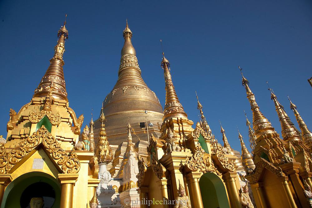 The Shwedagon pagoda is the most sacred pagoda in the country, in the capital of Yangon (Rangoon), Myanmar