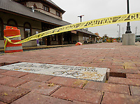 Phase 2 of the Wow Trail nears completion on the brick walkway at the Laconia Railroad Station.  (Karen Bobotas/for the Laconia Daily Sun)