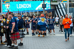 © Licensed to London News Pictures. 18/06/2021. LONDON, UK.  Scotland football fans arrive for the Euro 2020 Group D match between England and Scotland match at Wembley Stadium. The tournament was postponed from 2020 due to the COVID-19 pandemic in Europe and rescheduled for 11 June to 11 July 2021 with matches to be played in 11 cities. Wembley Stadium will host certain group matches, as well as the semi-finals and final itself.  Photo credit: Stephen Chung/LNP