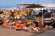 Harbour side fruit stall, Aegina port, Greek Saronic Islands. ..<br /> <br /> If you prefer to buy from our ALAMY PHOTO LIBRARY  Collection visit : https://www.alamy.com/portfolio/paul-williams-funkystock/aegina-greece.html <br /> <br /> Visit our GREECE PHOTO COLLECTIONS for more photos to download or buy as wall art prints https://funkystock.photoshelter.com/gallery-collection/Pictures-Images-of-Greece-Photos-of-Greek-Historic-Landmark-Sites/C0000w6e8OkknEb8