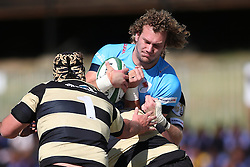 RG Snyman of the Blue Bulls is tackled by Boland captain Clemen Lewis during the Currie Cup premier division match between the Boland Cavaliers and The Blue Bulls held at Boland Stadium, Wellington, South Africa on the 23rd September 2016<br /> <br /> Photo by:   Shaun Roy/ Real Time Images