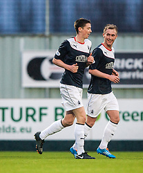 Falkirk's Conor McGrandles celebrates with team mate Falkirk's Craig Sibbald after scoring their second goal.<br /> Falkirk 3 v 1 Raith Rovers, Scottish Championship game at The Falkirk Stadium.