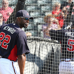 March 16, 2011; Lake Buena Vista, FL, USA; Atlanta Braves right fielder Jason Heyward (22) watches as teammate  Freddie Freeman (5) takes batting practice before a spring training exhibition game against the Boston Red Sox at the Disney Wide World of Sports complex. Mandatory Credit: Derick E. Hingle-US PRESSWIRE