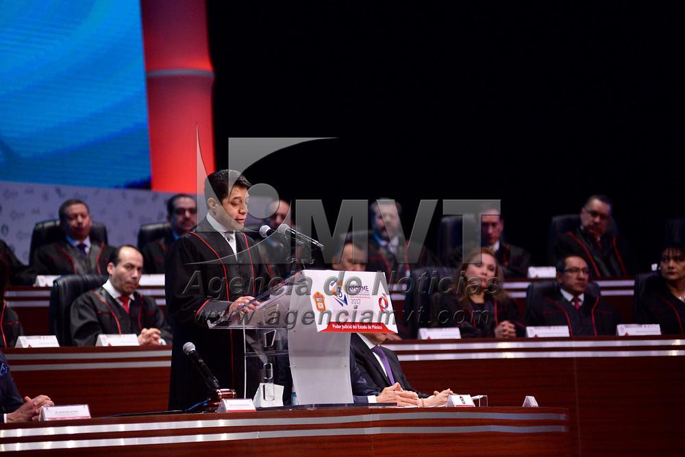 TOLUCA, México.- (Febrero 08, 2018).- El Magistrado Sergio Javier Medina Peñaloza, Presidente del Poder Judicial del Estado de México, rindió su Tercer Informe de Desarrollo Estratégico, acompañado por el gobernador mexiquense, Alfredo del Mazo Maza. Agencia MVT / Crisanta Espinosa.