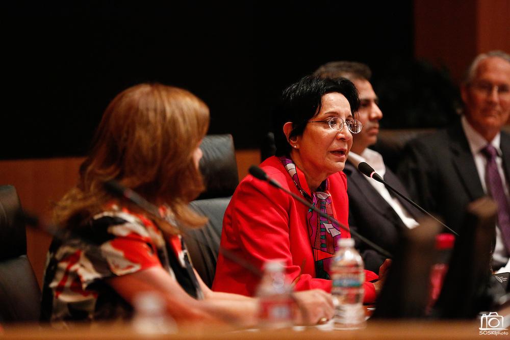 Deepka Lalwani talks during the Milpitas City Council Forum at Milpitas City Hall in Milpitas, California, on October 9, 2014. (Stan Olszewski/SOSKIphoto)